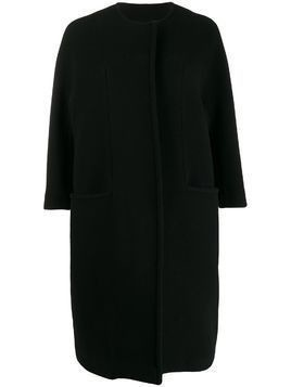 Gianluca Capannolo collarless cocoon coat - Black