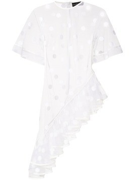 David Koma flock polka dot ruffle blouse - White