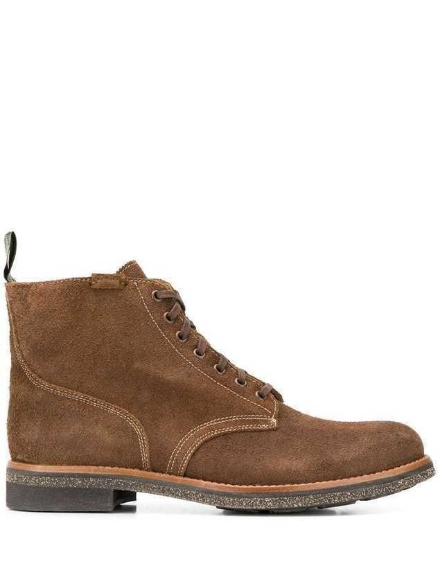 Polo Ralph Lauren textured lace-up boots - Brown