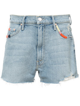 Mother distressed detail denim shorts - Blue