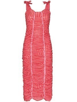 Molly Goddard Severine ruched gingham-print dress - Red
