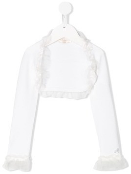 Monnalisa tulle trim shrug-cardigan - White