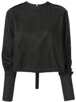 Yang Li pinstripe knitted top - Black