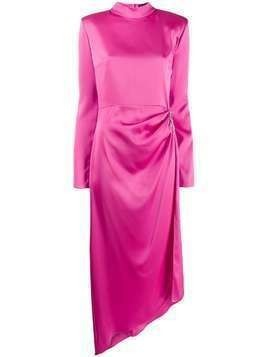 David Koma draped satin gown - PINK