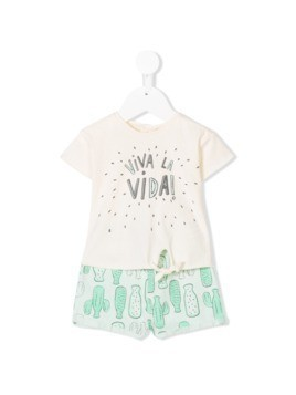 Message In The Bottle printed top and shorts set - Nude&Neutrals