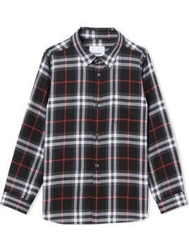 Burberry Kids vintage check flannel shirt - Black
