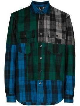 Liam Hodges panelled check oversized shirt - Blue