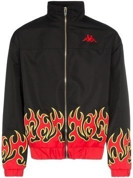Charm's x Kappa fire print high neck sport jacket - Black