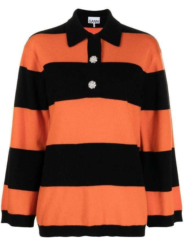 GANNI horizontal-stripe knitted polo top - ORANGE
