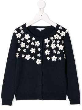 Little Marc Jacobs daisy appliqués cardigan - Blue