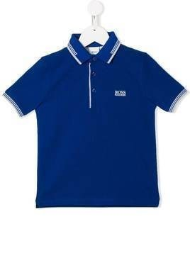 Boss Kids Pique logo embroidered polo shirt - Blue