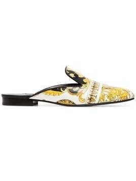 Versace white, black and yellow barocco istante print leather backless loafers - Yellow & Orange