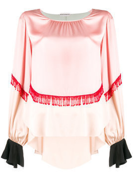 Giacobino fringe and frill trim blouse - Pink