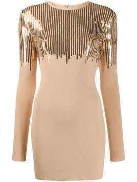David Koma sequined mini dress - NEUTRALS