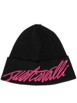 Just Cavalli logo embroidered beanie - Black