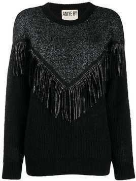 Aniye By fringed-panel knit sweater - Black