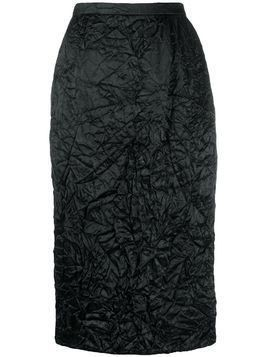 Rochas crinkle effect pencil skirt - Black