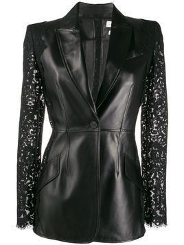 Alexander McQueen lace sleeve leather jacket - Black