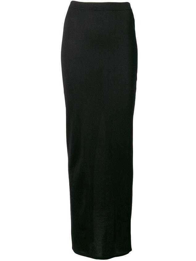 Rick Owens fitted long skirt - Black
