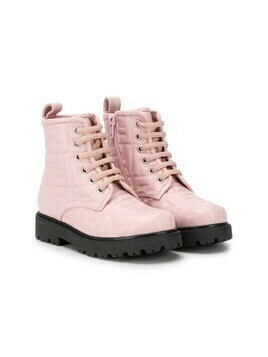 Fendi Kids monogram lace-up boots - PINK