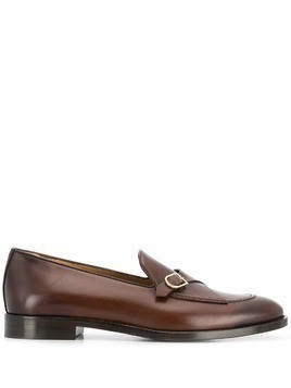 Edhen Milano buckled strap monk shoes - Brown