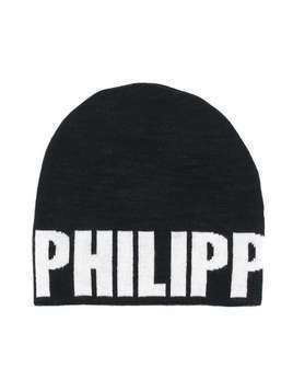 Philipp Plein Junior logo print beanie - Black
