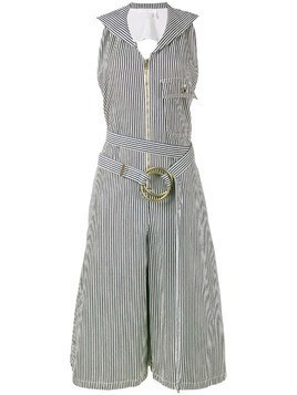Chloé pinstriped dungaree jumpsuit - Blue