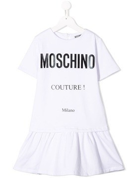 Moschino Kids logo print T-shirt dress - White