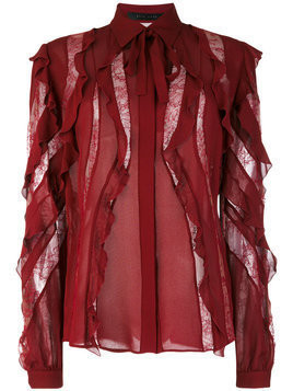 Elie Saab sheer stripes frilled blouse - Pink & Purple
