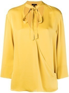 Theory tie front wrap blouse - Yellow & Orange