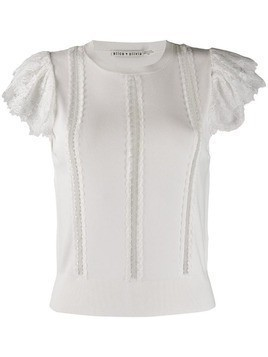 Alice+Olivia Rosio lace detail top - White