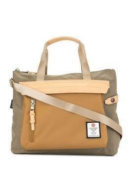As2ov contrast panel tote - Brown