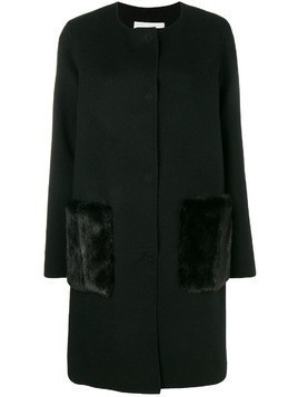 Manzoni 24 single-breasted fur detailed coat - Black