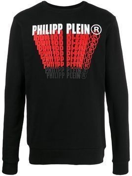 Philipp Plein crew neck logo printed sweatshirt - Black