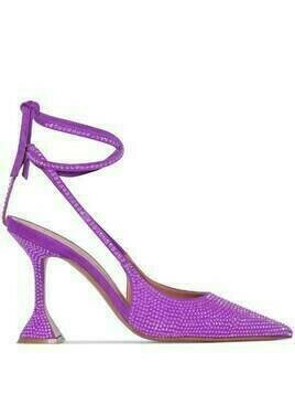 Amina Muaddi Karma 95mm crystal-embellished slingback pumps - PURPLE