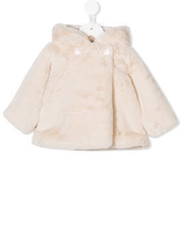 Douuod Kids faux fur hooded coat - White