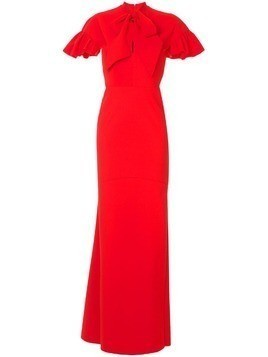 Greta Constantine Auckland ruffle-sleeve gown - Red
