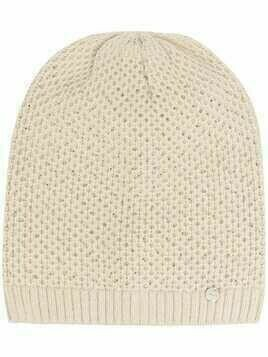 LIU JO logo-patch knitted beanie - Neutrals