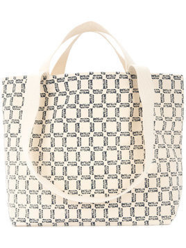 Maison Kitsuné Le Rectangle printed tote - White