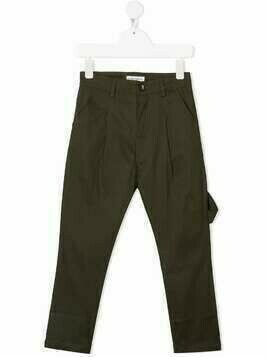 Paolo Pecora Kids dart-detail cotton trousers - Green