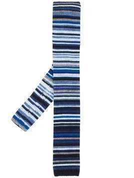 Paul Smith knitted stripe tie - Blue