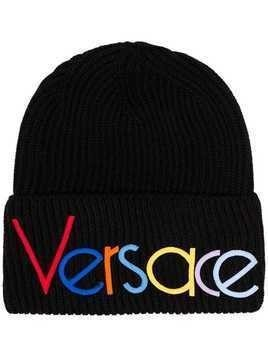 Versace rainbow logo-embroidered beanie hat - Black