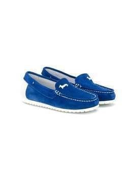 Harmont & Blaine Junior embroidered logo mocassins - Blue