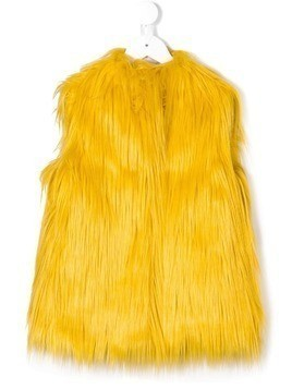 Il Gufo sleeveless fur gilet - Yellow & Orange