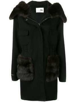 Manzoni 24 fur trimmed hooded coat - Black