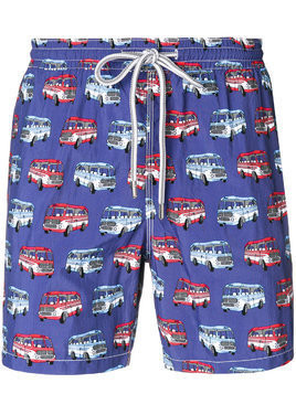 Capricode bus print swim shorts - Blue