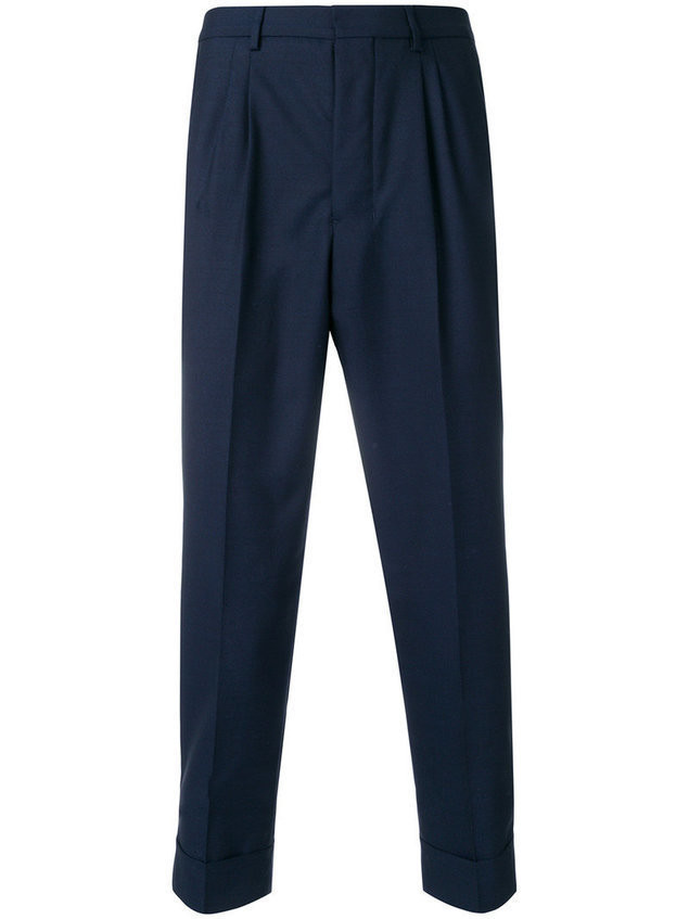 Ami Alexandre Mattiussi pleated carrot fit trousers - Blue