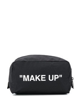 Off-White quote print wash bag - Black
