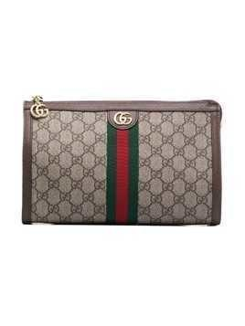 Gucci GG logo leather makeup bag - Brown