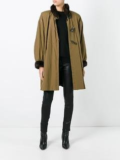 Yves Saint Laurent Vintage toggled fur trim coat - Green